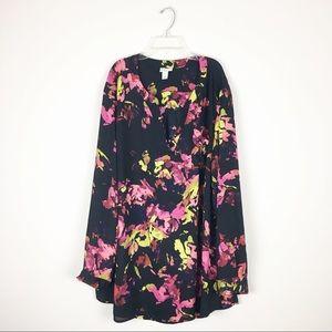 Ava & Viv Black Floral Print Blouse Sz 4X